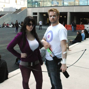 From the comic book 'Hawkeye'; I am Kate Bishop, and Chris is Clint Barton.