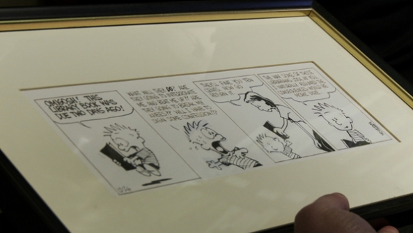 A rarely seen original daily Calvin & Hobbes comic strip. One of the most sought after original art pieces by comic/cartoon collectors.