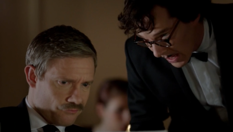 Sherlock disguises himself just before he surprises John that he's alive.