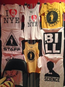 Bill Nye's merch table at Irving Plaza.
