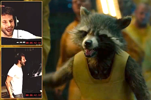 Bradley Cooper voicing Rocket Raccoon.