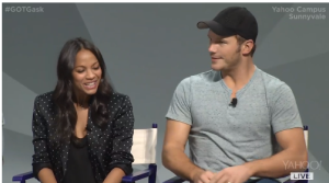Zoe Saldana and Chris Pratt (Gamora and Star Lord).