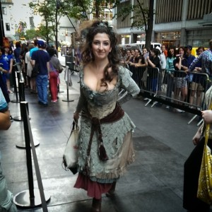 An awesome cosplayer dressed up as The Doctor's Wife Tardis.