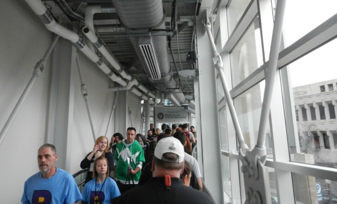 Crowd flow from the Dunkin Donuts Center to the RI Convention Center via indoor walkway.